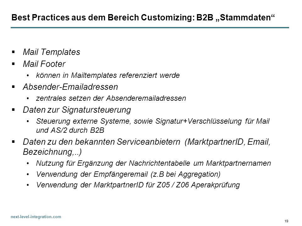 "Best Practices aus dem Bereich Customizing: B2B ""Stammdaten"