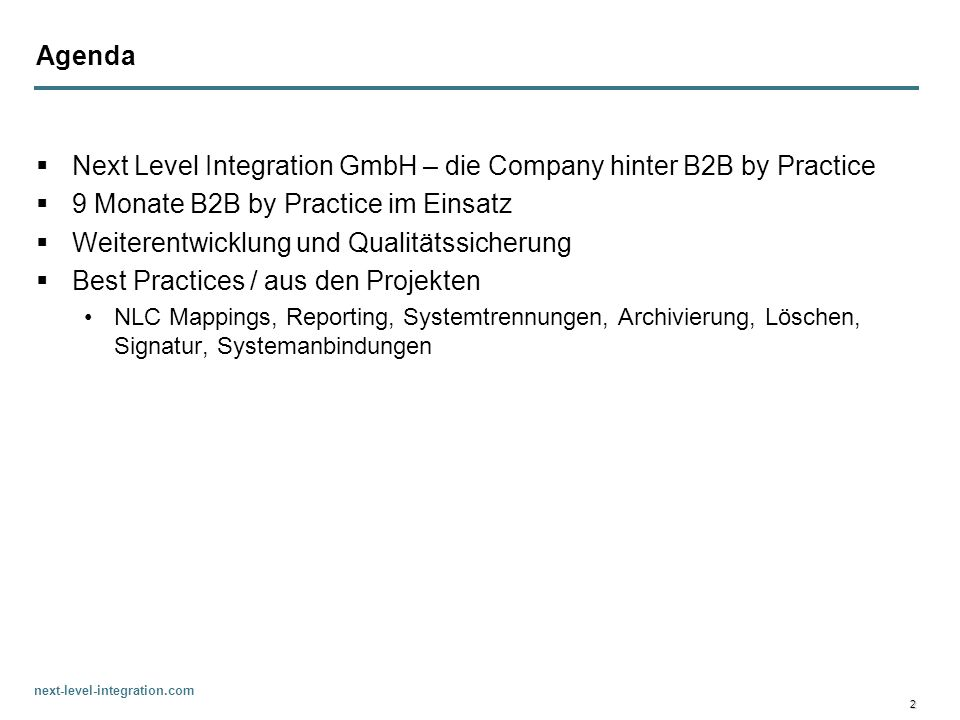 Next Level Integration GmbH – die Company hinter B2B by Practice