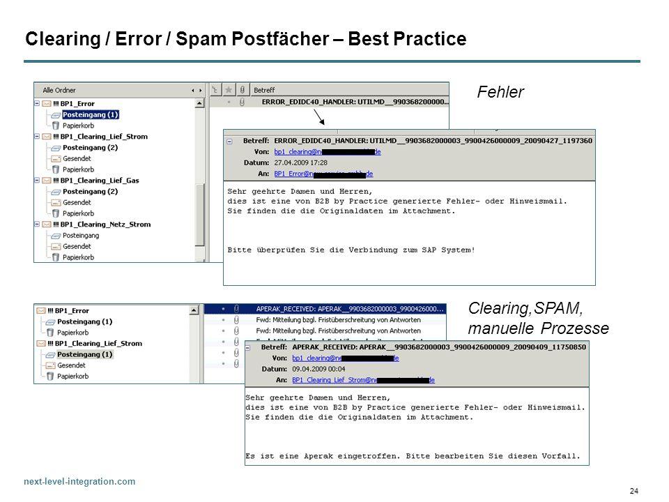 Clearing / Error / Spam Postfächer – Best Practice