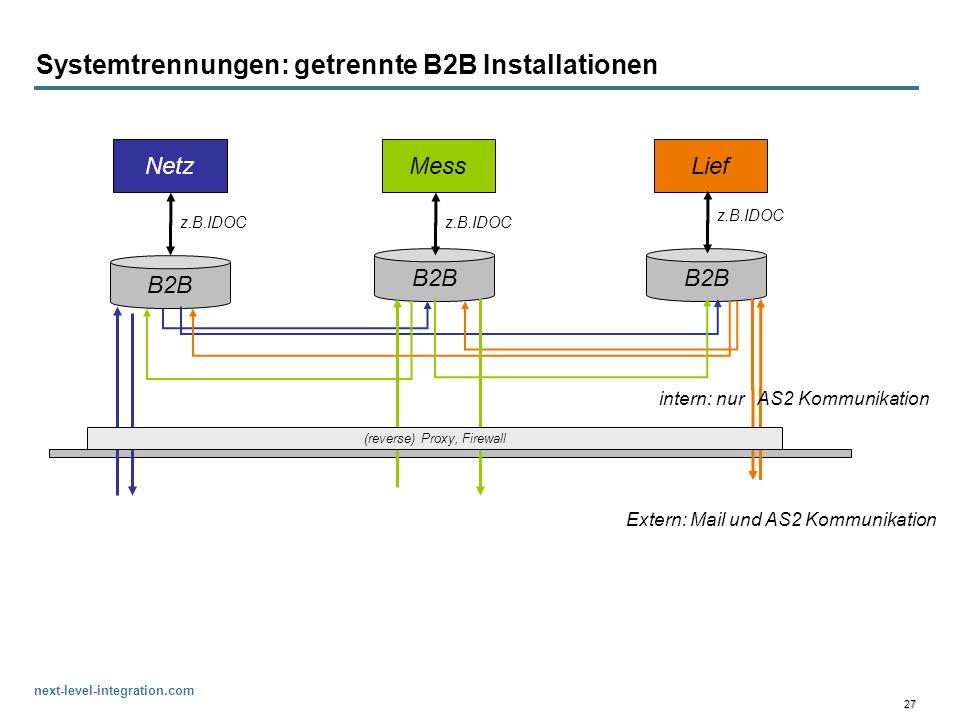 Systemtrennungen: getrennte B2B Installationen