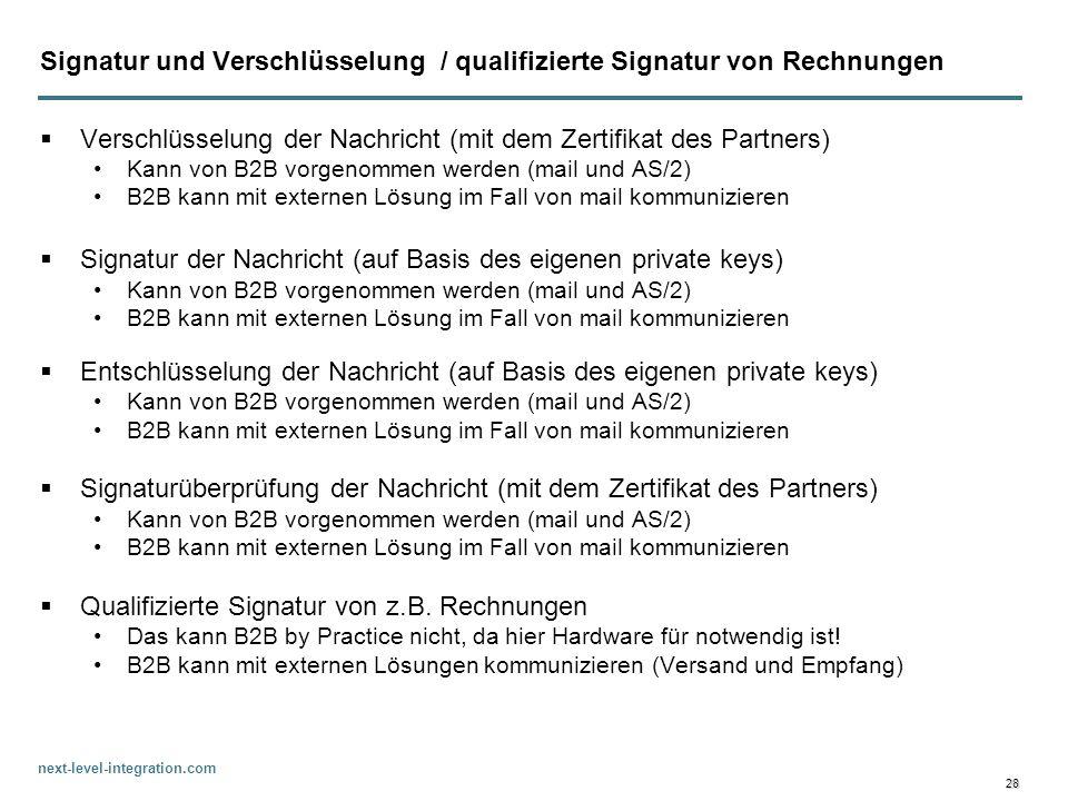 Signatur und Verschlüsselung / qualifizierte Signatur von Rechnungen