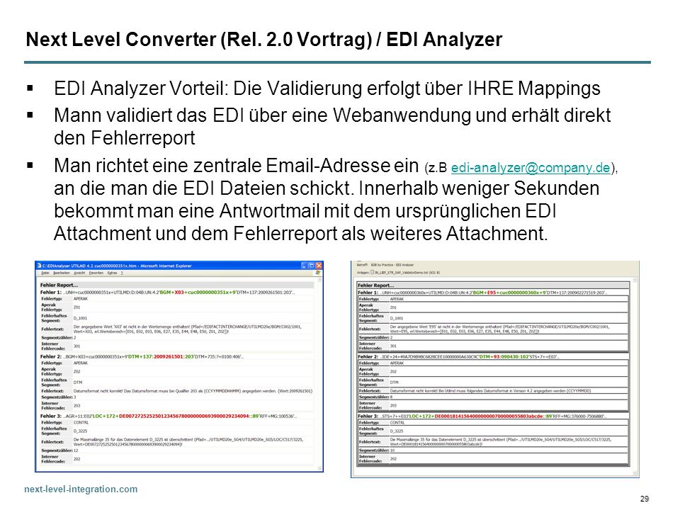 Next Level Converter (Rel. 2.0 Vortrag) / EDI Analyzer