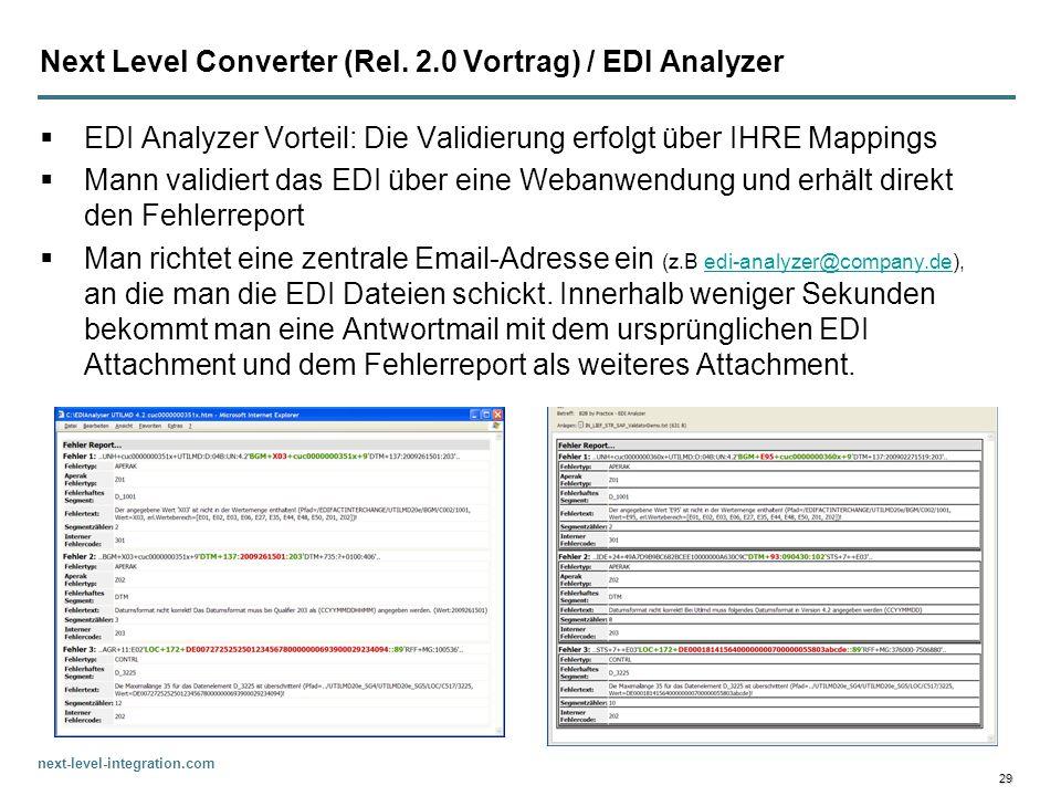 Next Level Converter (Rel. 2.0 Vortrag) / EDI Analyzer