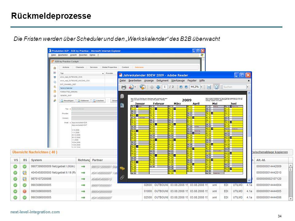 """Rückmeldeprozesse Die Fristen werden über Scheduler und den """"Werkskalender des B2B überwacht"""