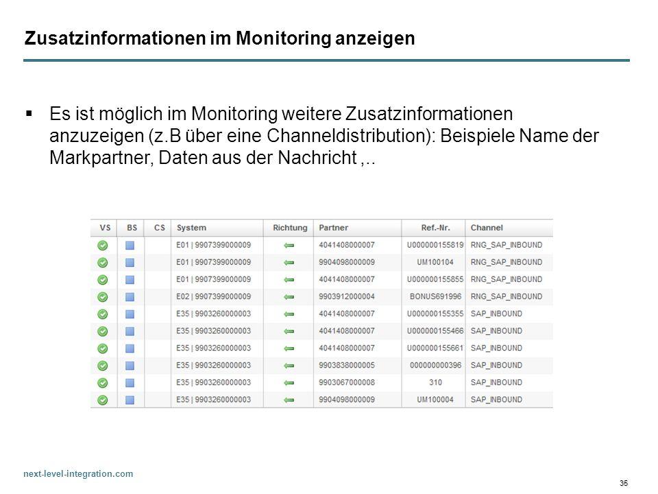 Zusatzinformationen im Monitoring anzeigen