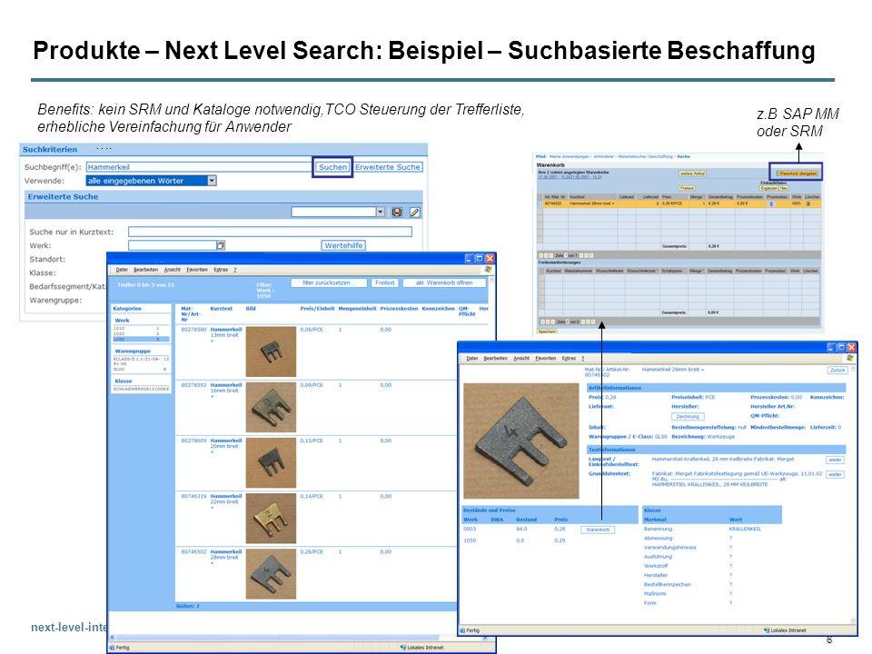 Produkte – Next Level Search: Beispiel – Suchbasierte Beschaffung