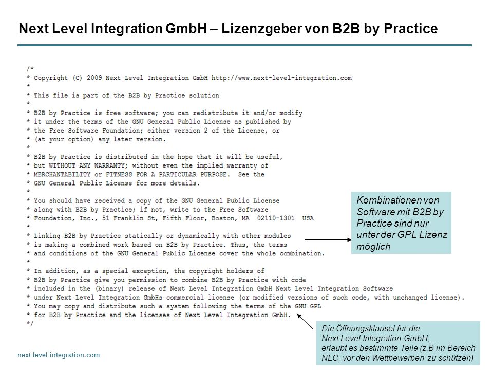 Next Level Integration GmbH – Lizenzgeber von B2B by Practice