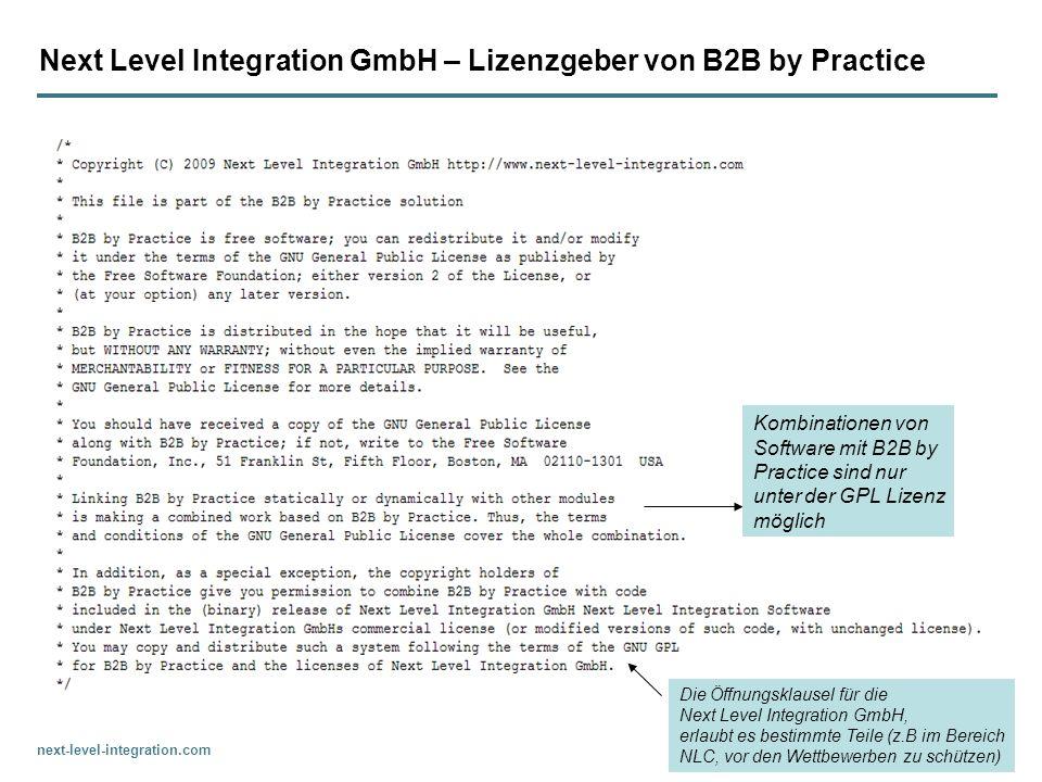 Next Level Integration GmbH – Lizenzgeber von B2B by Practice