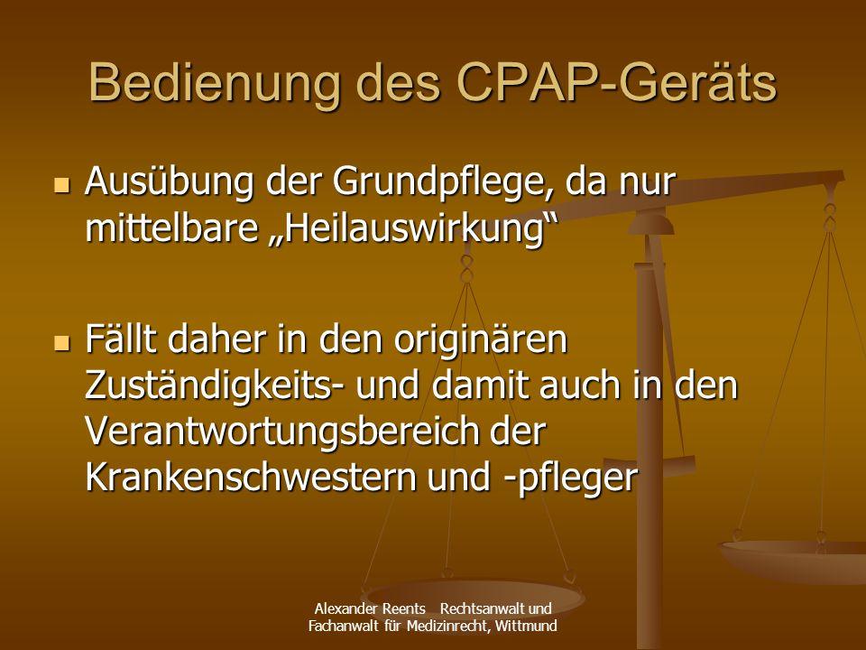 Bedienung des CPAP-Geräts