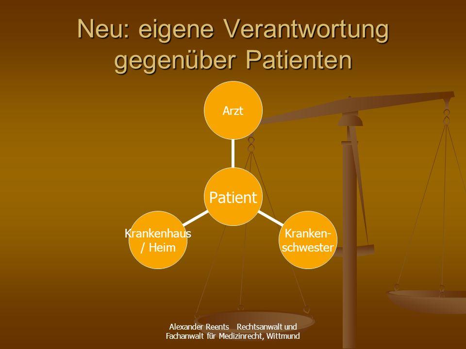 Neu: eigene Verantwortung gegenüber Patienten
