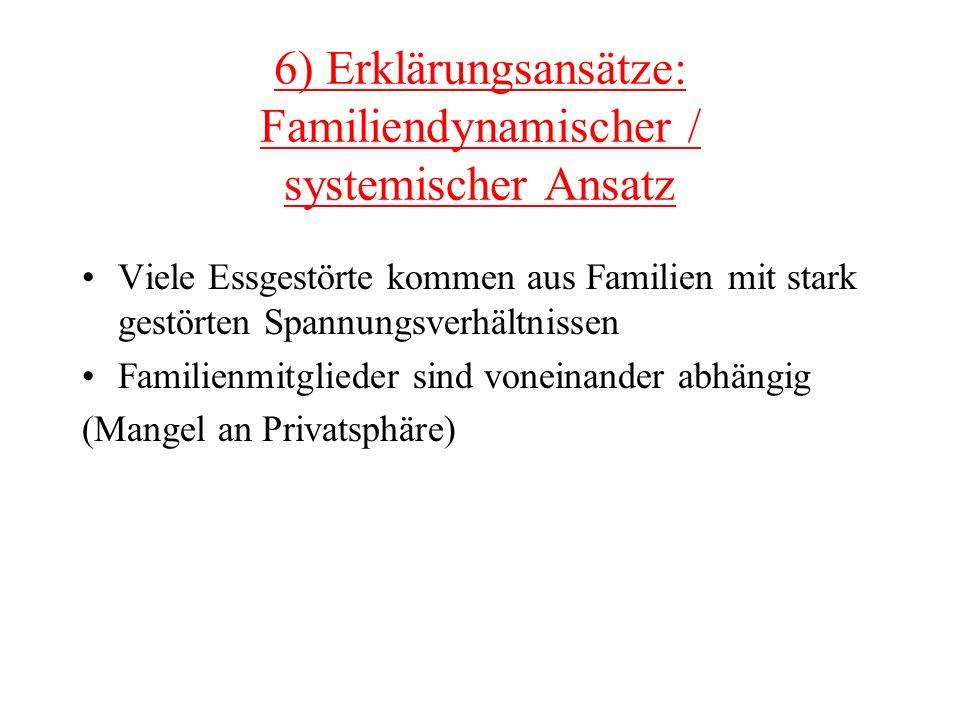 6) Erklärungsansätze: Familiendynamischer / systemischer Ansatz