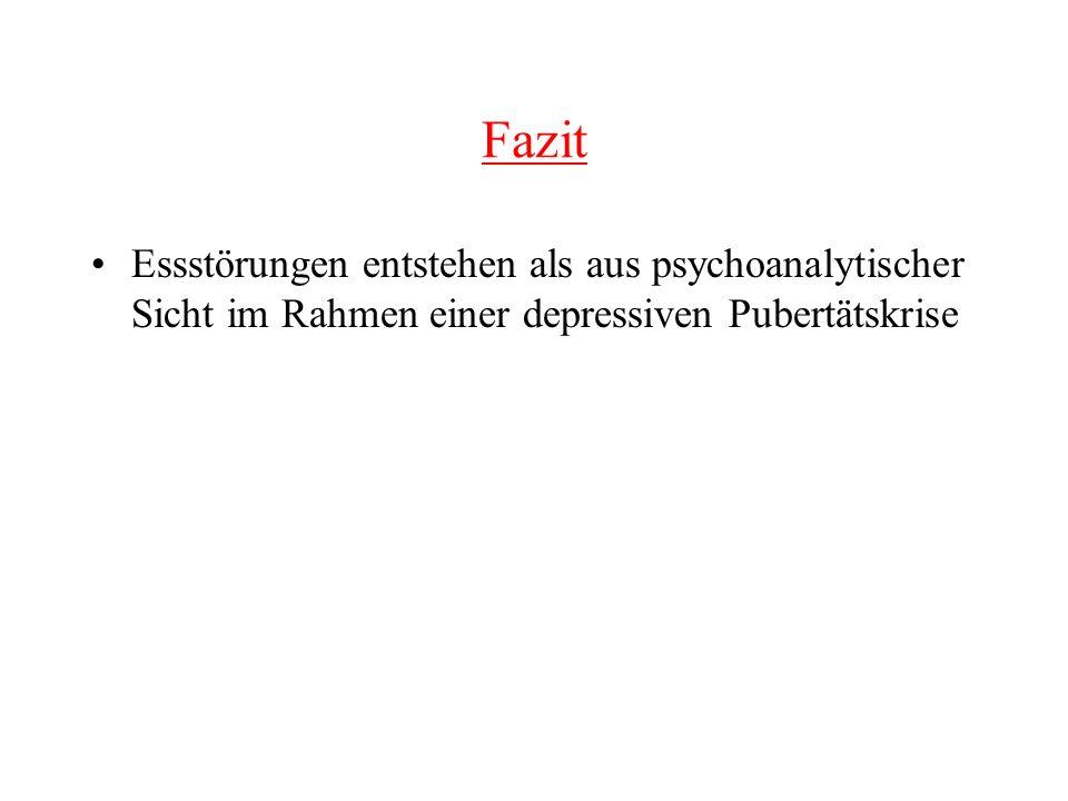 Fazit Essstörungen entstehen als aus psychoanalytischer Sicht im Rahmen einer depressiven Pubertätskrise.