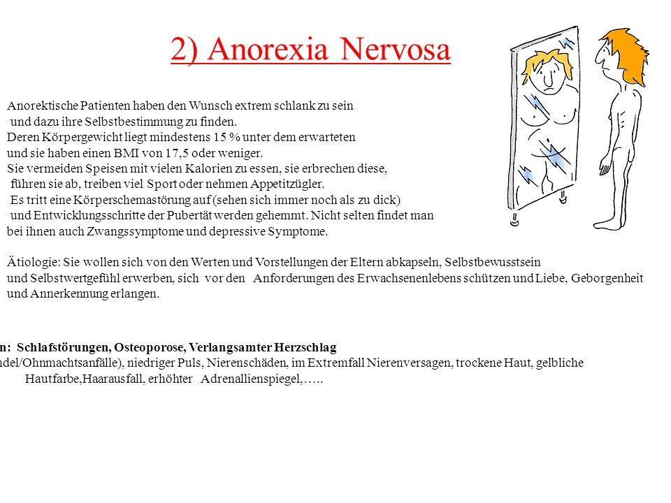 2) Anorexia Nervosa Anorektische Patienten haben den Wunsch extrem schlank zu sein. und dazu ihre Selbstbestimmung zu finden.