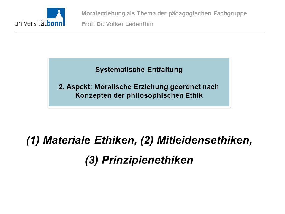 (1) Materiale Ethiken, (2) Mitleidensethiken, (3) Prinzipienethiken