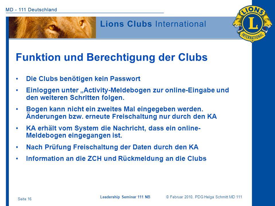 Funktion und Berechtigung der Clubs