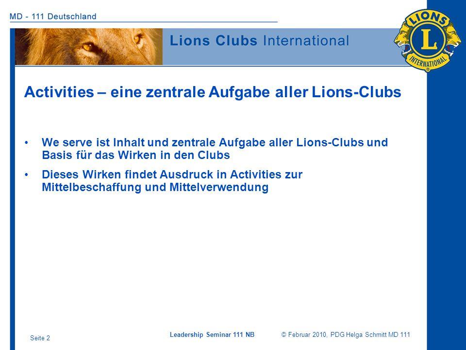 Activities – eine zentrale Aufgabe aller Lions-Clubs