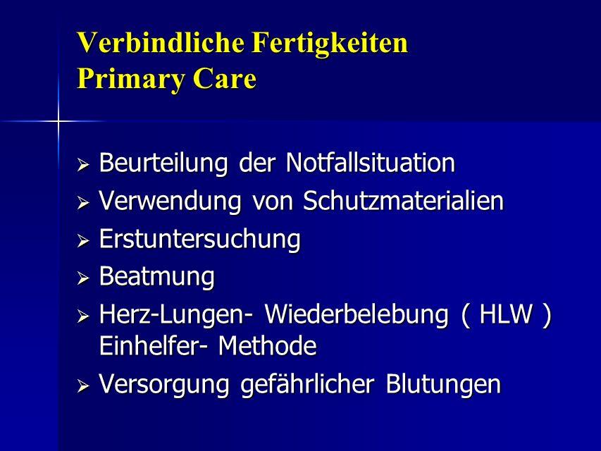 Verbindliche Fertigkeiten Primary Care