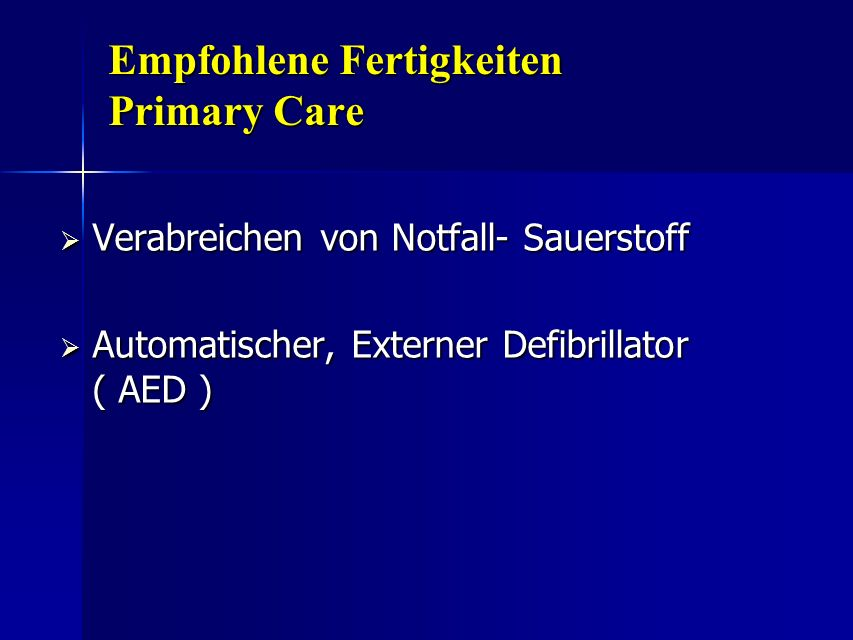 Empfohlene Fertigkeiten Primary Care