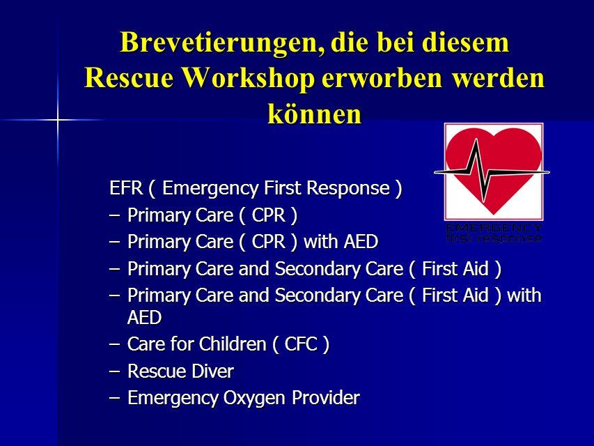 Brevetierungen, die bei diesem Rescue Workshop erworben werden können