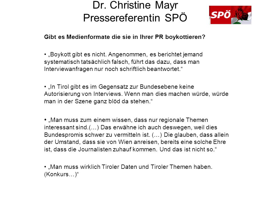 Dr. Christine Mayr Pressereferentin SPÖ