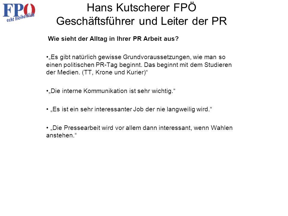 Hans Kutscherer FPÖ Geschäftsführer und Leiter der PR