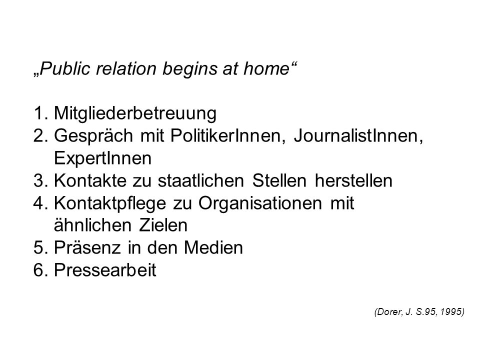"""Public relation begins at home 1. Mitgliederbetreuung 2"