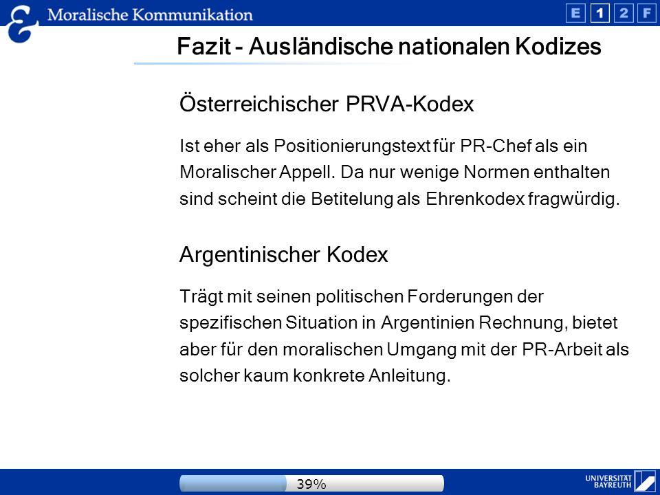 Fazit - Ausländische nationalen Kodizes