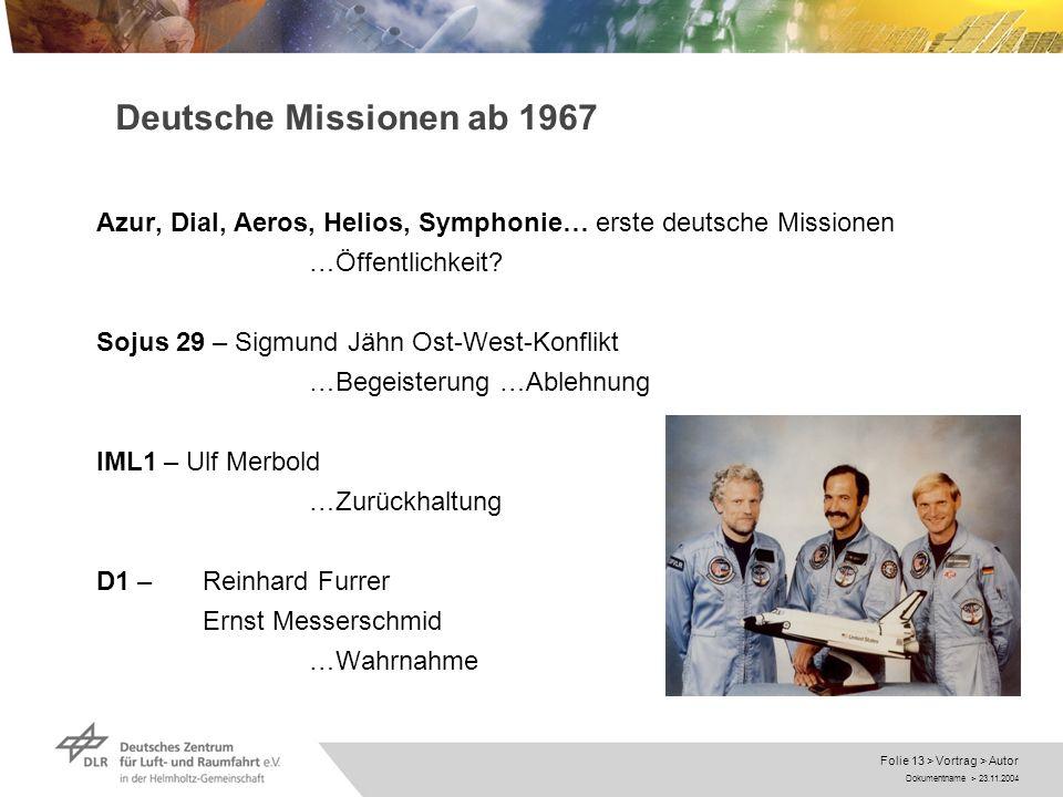 Deutsche Missionen ab 1967 Azur, Dial, Aeros, Helios, Symphonie… erste deutsche Missionen. …Öffentlichkeit