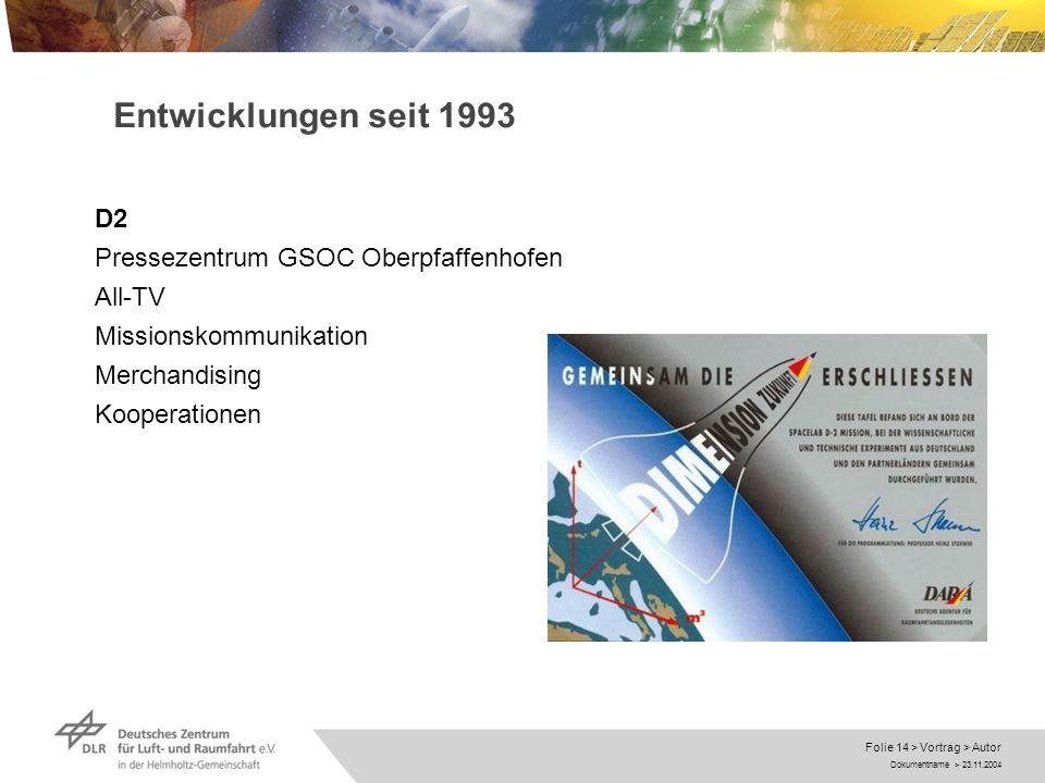 Entwicklungen seit 1993 D2 Pressezentrum GSOC Oberpfaffenhofen All-TV