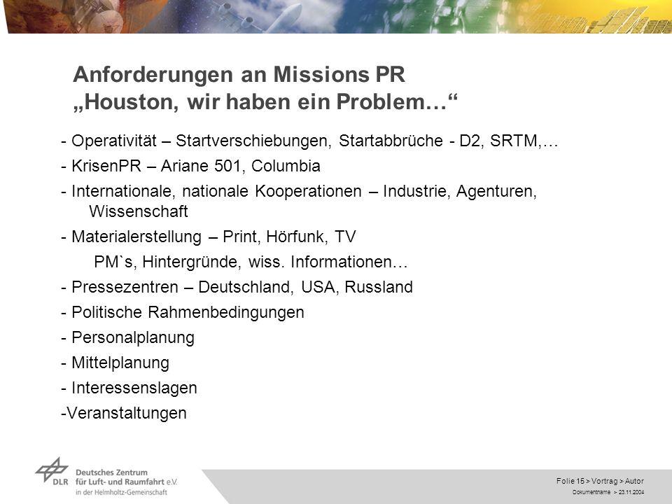 """Anforderungen an Missions PR """"Houston, wir haben ein Problem…"""