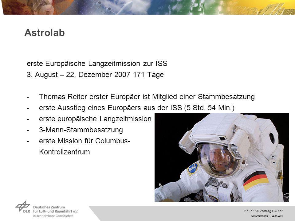 Astrolab erste Europäische Langzeitmission zur ISS
