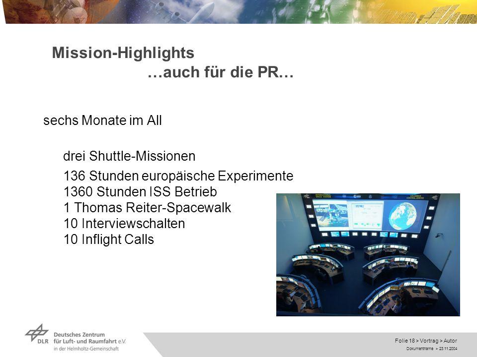 Mission-Highlights …auch für die PR…