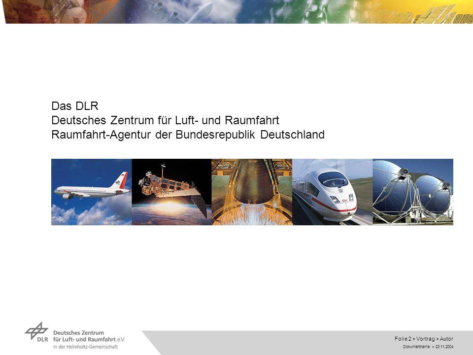 Das DLR Deutsches Zentrum für Luft- und Raumfahrt Raumfahrt-Agentur der Bundesrepublik Deutschland