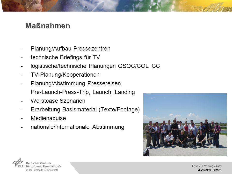 Maßnahmen Planung/Aufbau Pressezentren technische Briefings für TV