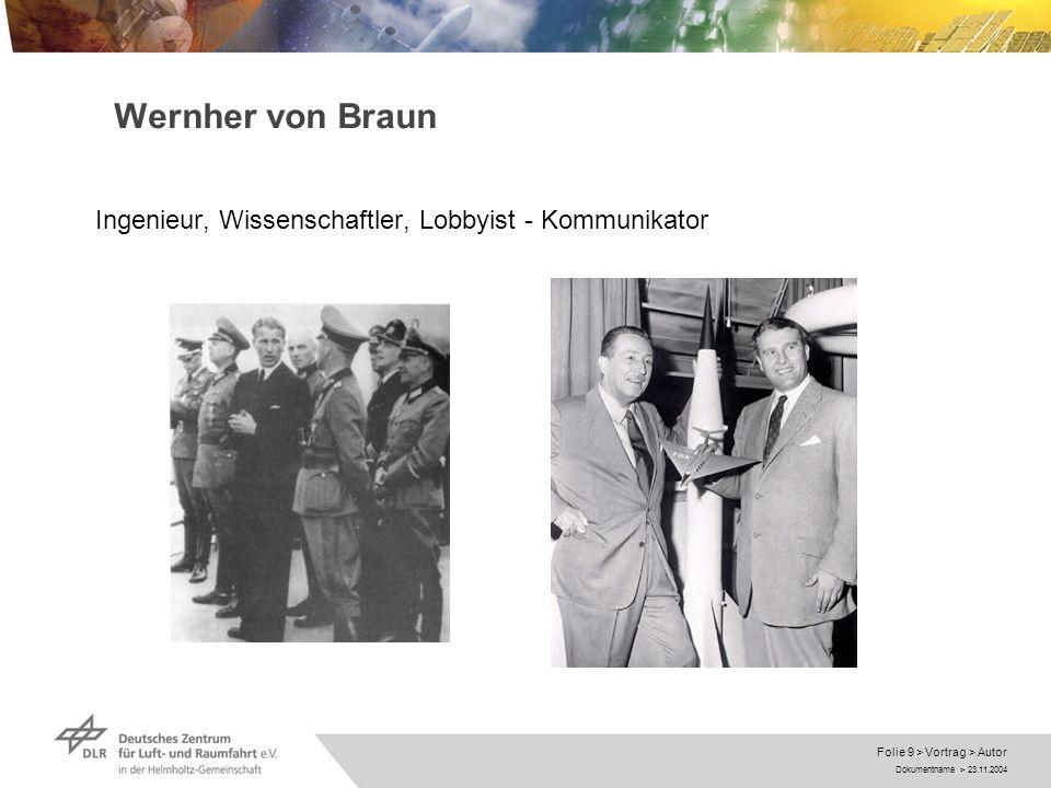 Wernher von Braun Ingenieur, Wissenschaftler, Lobbyist - Kommunikator