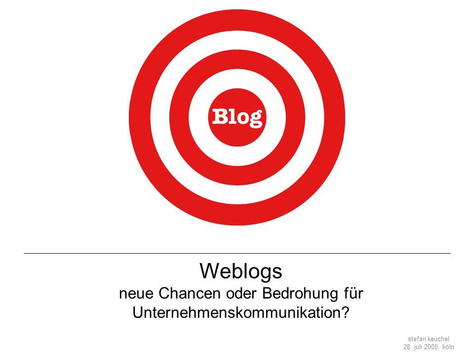 Weblogs neue Chancen oder Bedrohung für Unternehmenskommunikation