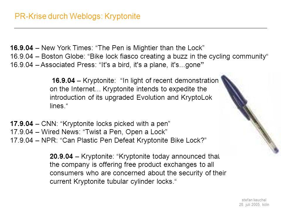 PR-Krise durch Weblogs: Kryptonite