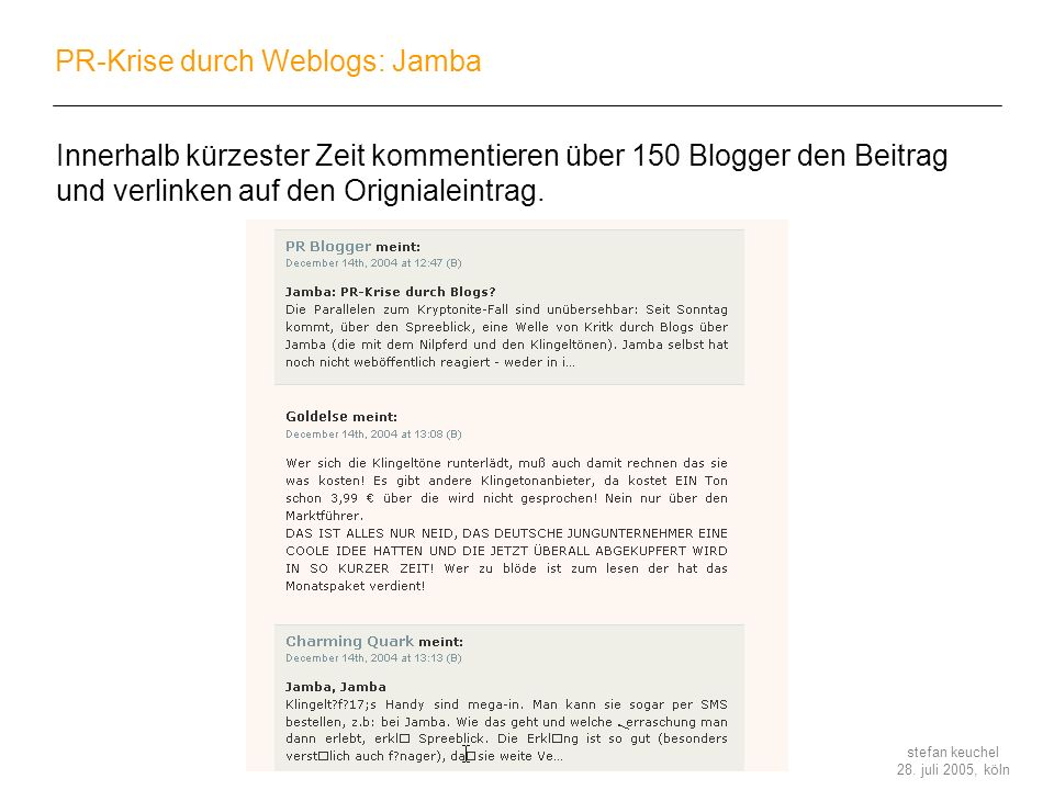 PR-Krise durch Weblogs: Jamba