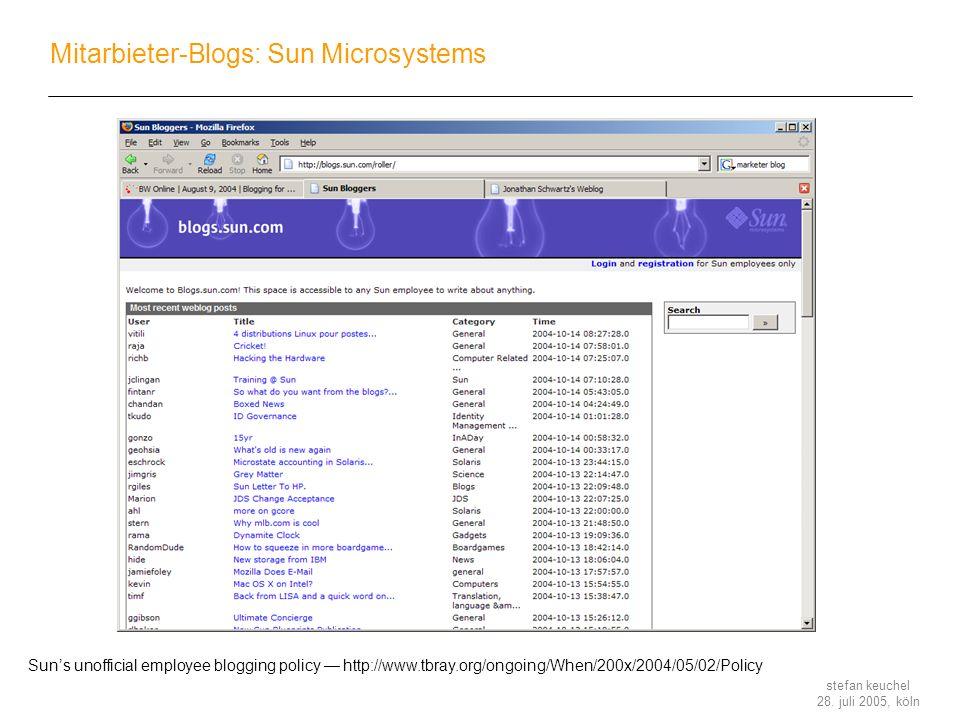 Mitarbieter-Blogs: Sun Microsystems
