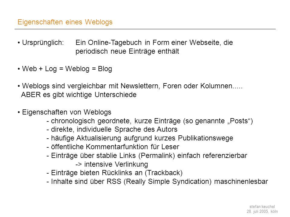 Eigenschaften eines Weblogs