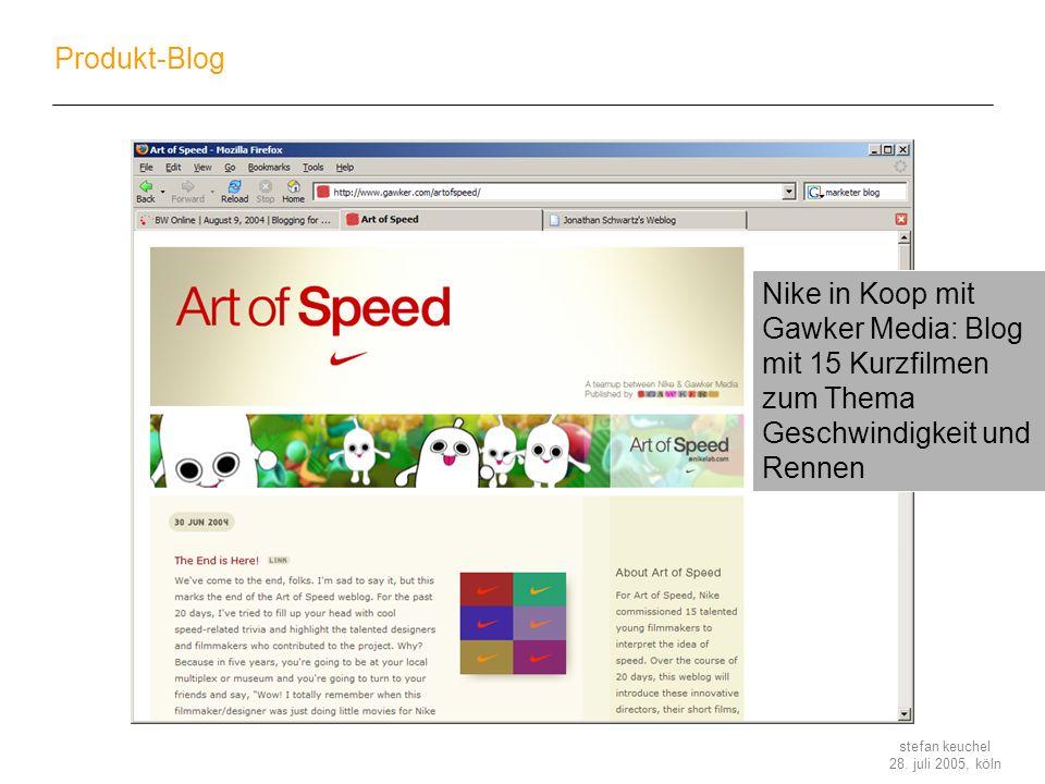 Produkt-Blog Nike in Koop mit Gawker Media: Blog mit 15 Kurzfilmen zum Thema Geschwindigkeit und Rennen.