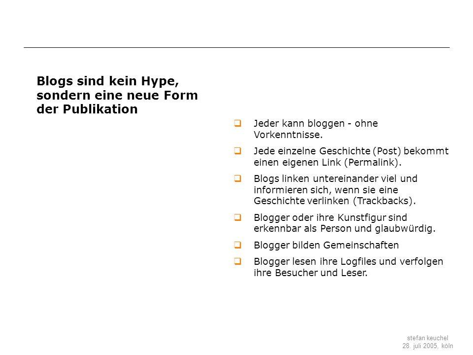 Blogs sind kein Hype, sondern eine neue Form der Publikation