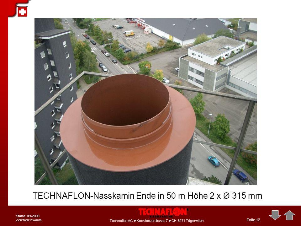 TECHNAFLON-Nasskamin Ende in 50 m Höhe 2 x Ø 315 mm
