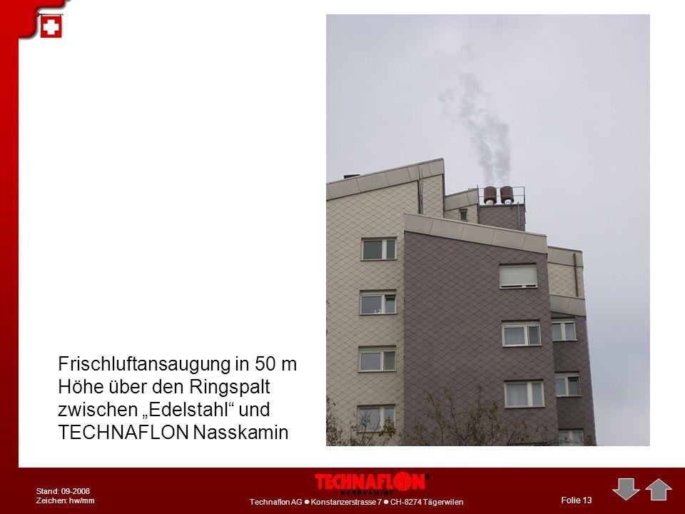 """Frischluftansaugung in 50 m Höhe über den Ringspalt zwischen """"Edelstahl und TECHNAFLON Nasskamin"""