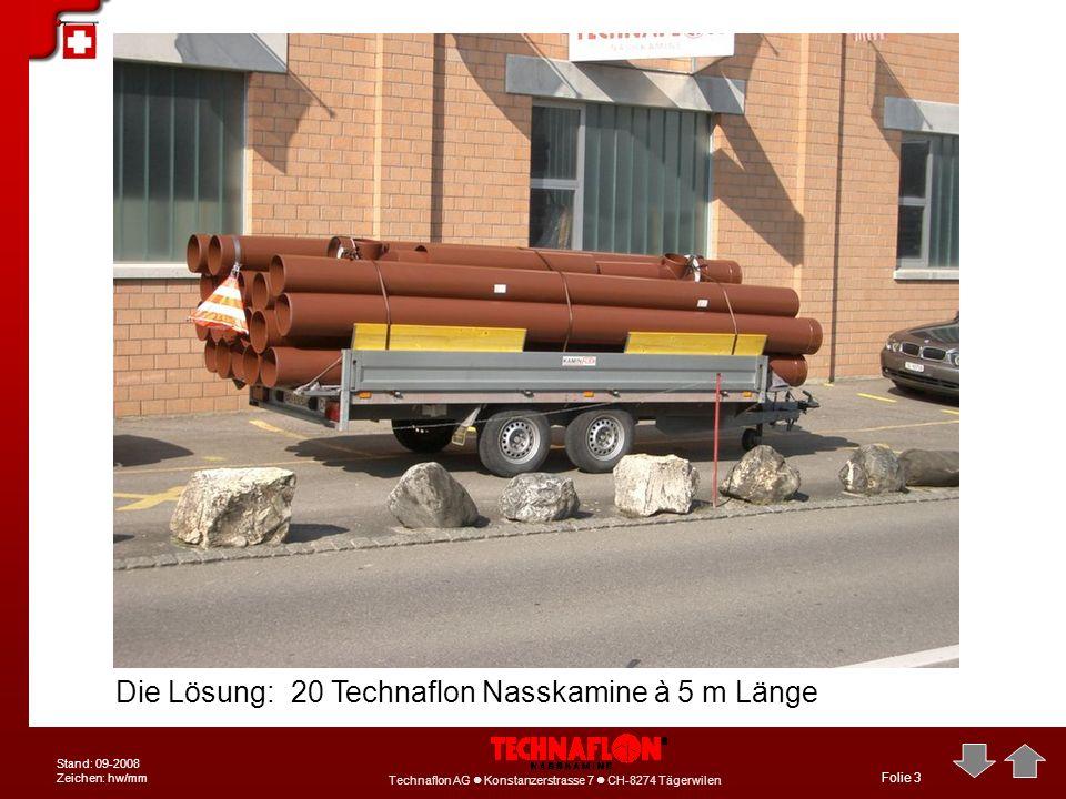 Die Lösung: 20 Technaflon Nasskamine à 5 m Länge