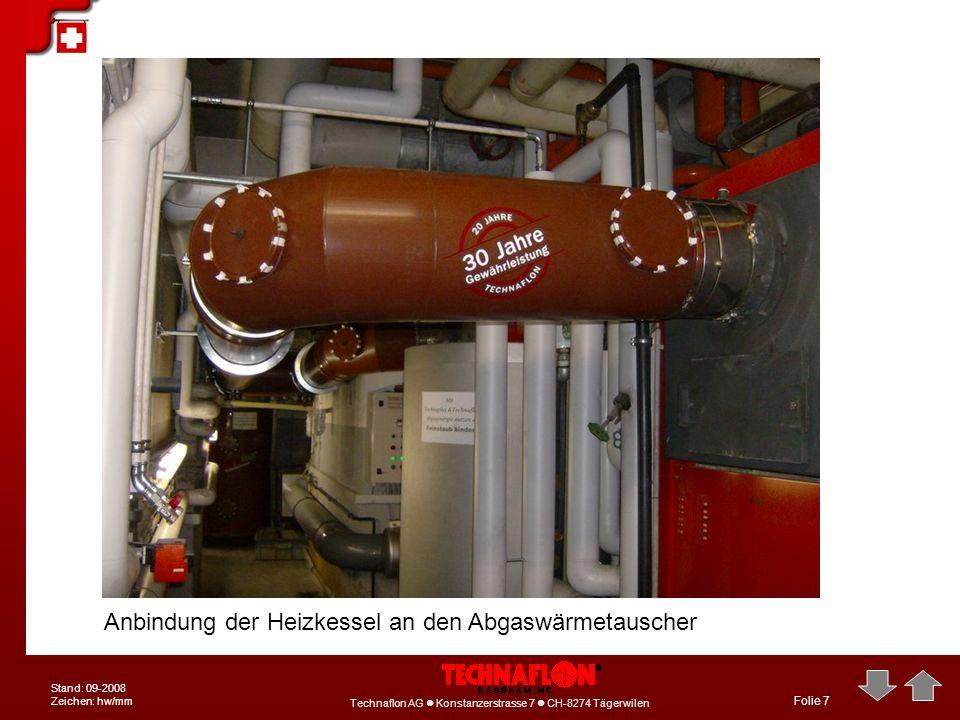 Anbindung der Heizkessel an den Abgaswärmetauscher