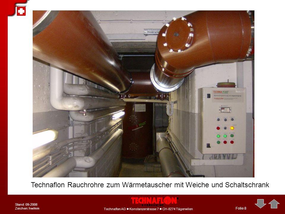 Technaflon Rauchrohre zum Wärmetauscher mit Weiche und Schaltschrank