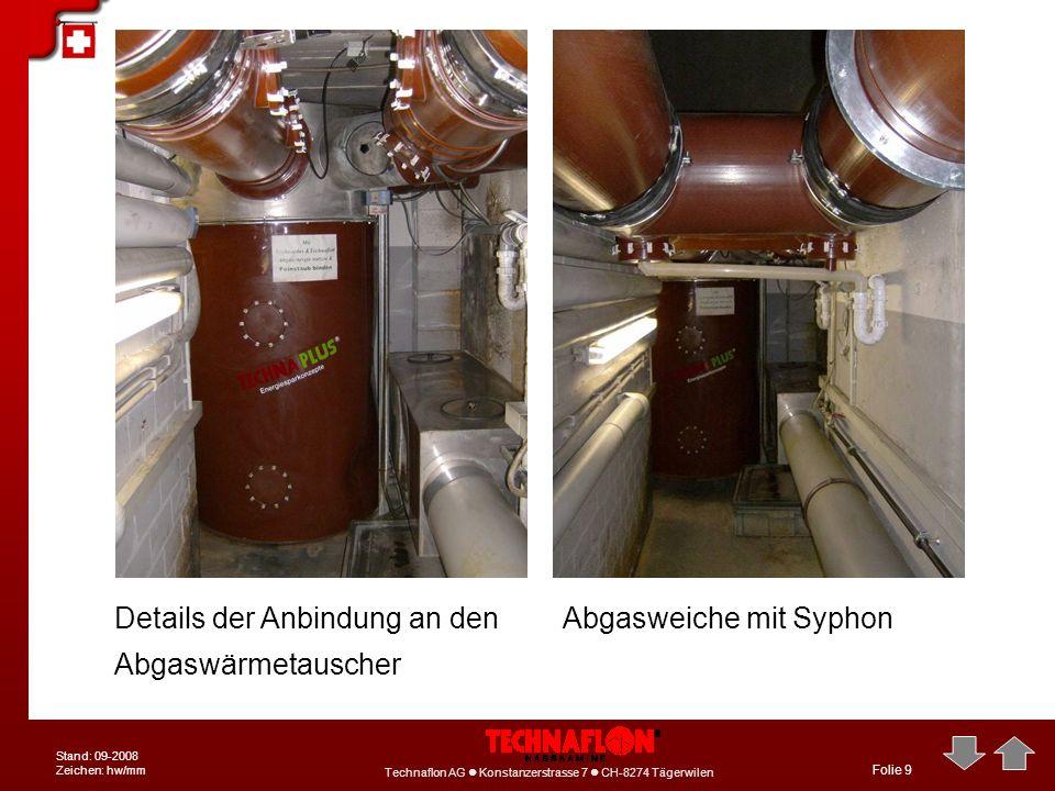 Details der Anbindung an den Abgaswärmetauscher Abgasweiche mit Syphon