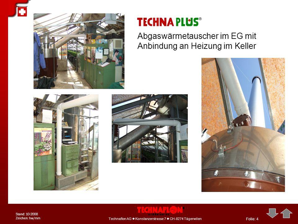 Abgaswärmetauscher im EG mit Anbindung an Heizung im Keller