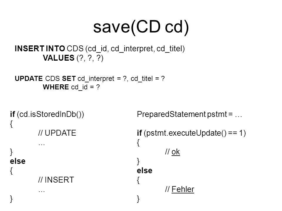 save(CD cd) INSERT INTO CDS (cd_id, cd_interpret, cd_titel)